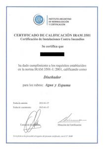 Certificado de calificación IRAM 3501